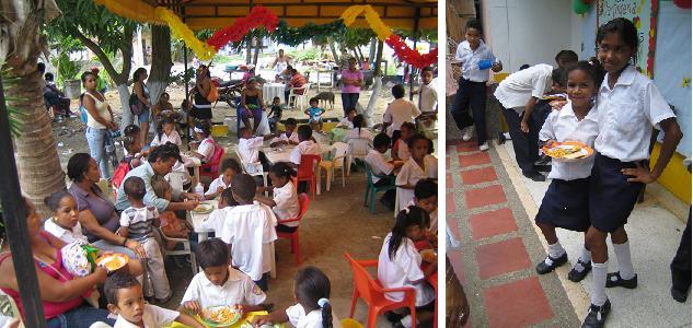 Bei der Essensausgabe helfen die Eltern der Schüler mit; gegessen wird überall - vor, an und in der Schule