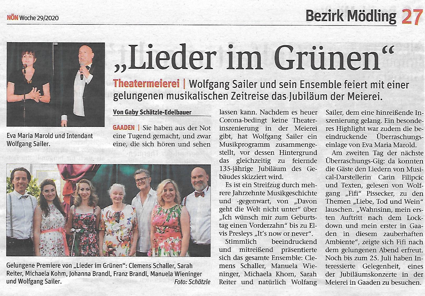 Niederösterreichische Nachrichten, Juli 2020, Theatermeierei Gaaden