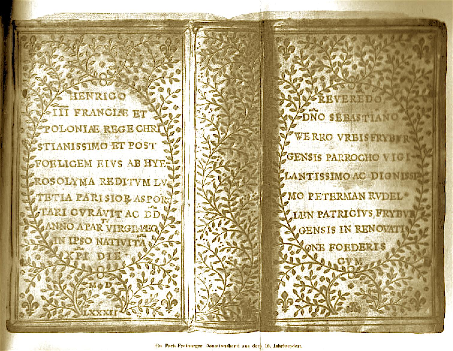 Freiburger Donationsband (1582) im Stil à la fanfare
