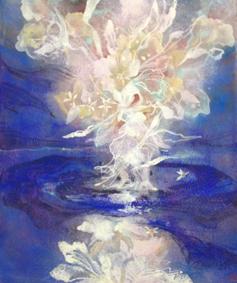 咲く花 F10 岩絵の具 2013