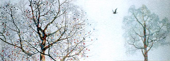 鈴懸の詩 970×2606mm 1996 岩絵の具・水干絵の具