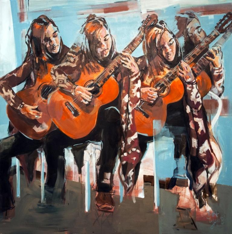 """""""Carpicho Arrabe"""" ist  120 cm mal 120 cm groß, mit  Kohle gezeichnet und Acryl auf Leinwand gemalt. Das Gemälde war im Jahr 2017 mein Beitrag zur Ausstellung """"Flow"""" und wurde zum schönsten Bild der Ausstellung vom Publikum gewählt"""