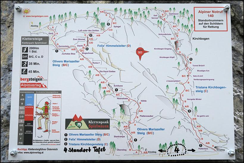 Klettersteig Johann Topo : 10.5. wegscheid 818 einstieg 1150 mariazeller steig b c