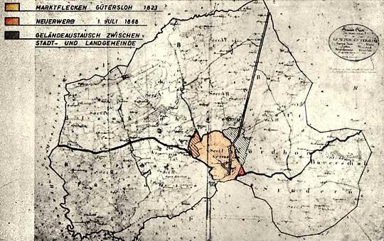 Das Gebiet der Stadt Gütersloh ab Juli 1868 (farbig markiert)