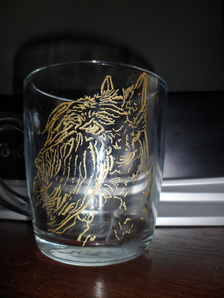 Hand engraved with gilding on glass, January 2013