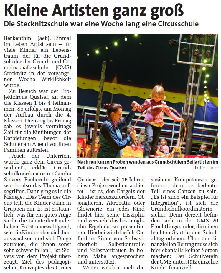Zeitungsartikel aus: MARKT vom 23.09.2015, Foto und Bericht: Ebert (aeb)