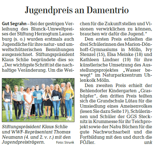 Aus Lübecker Nachrichten, LN Lokal vom 13./14. September, Foto und Bericht von Strunk (unk)