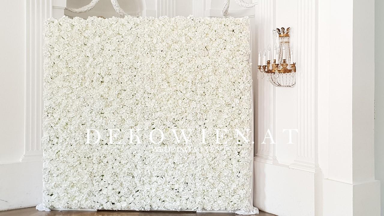 Blumenwand weiß mieten/ Schloss Laudon