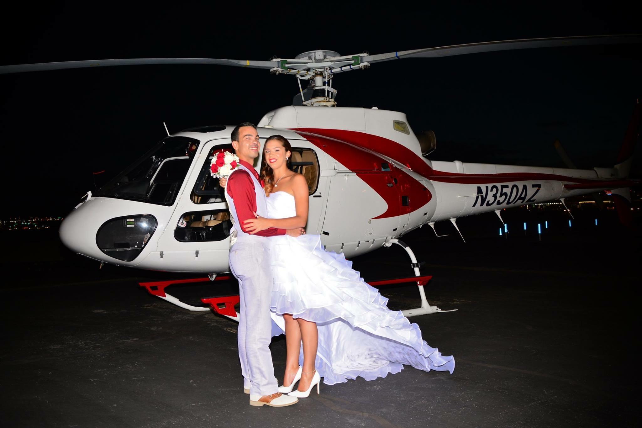 Wunderschönes Paar aus Frankreich nach der Helikopterhochzeit in Las Vegas