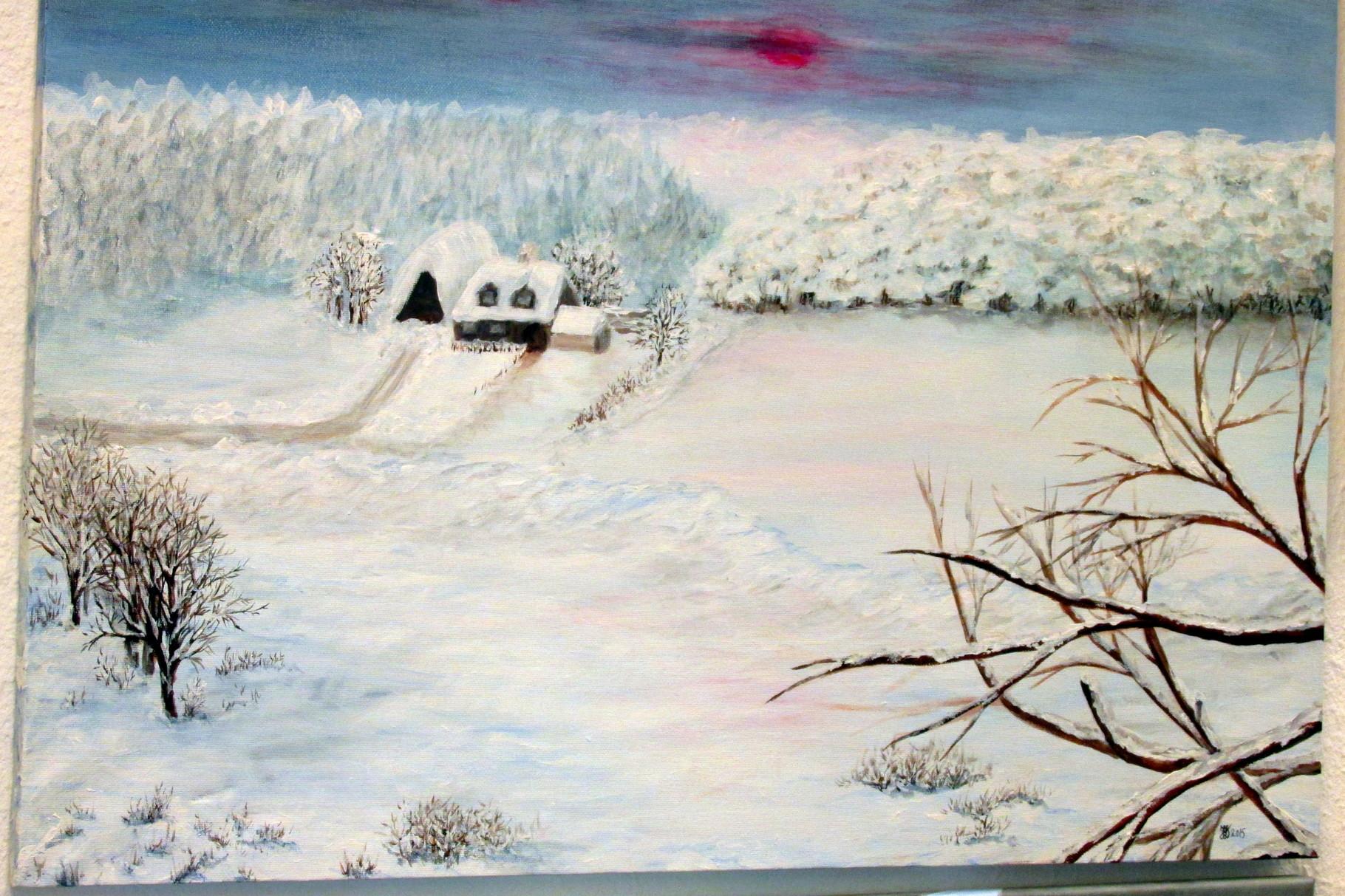 Winter auf dem Land,Acryl a. L. gerahmt, 50x70cm, 280 €