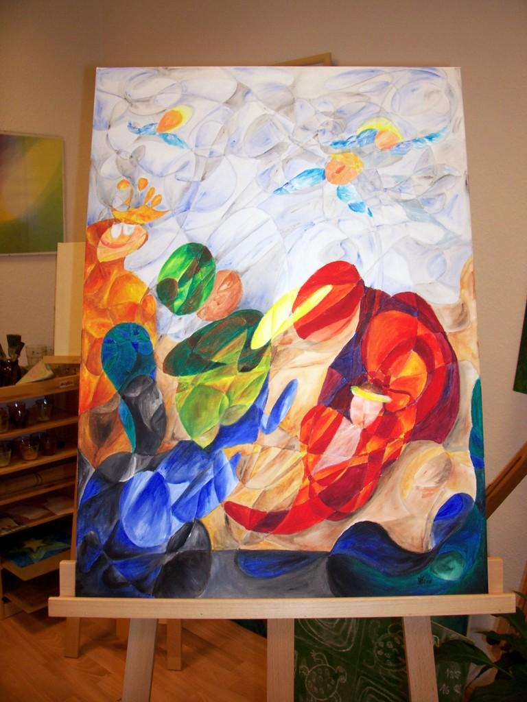 1 die tanzenden Könige, Acryl auf Leinwand, 50x70, unverkäuflich