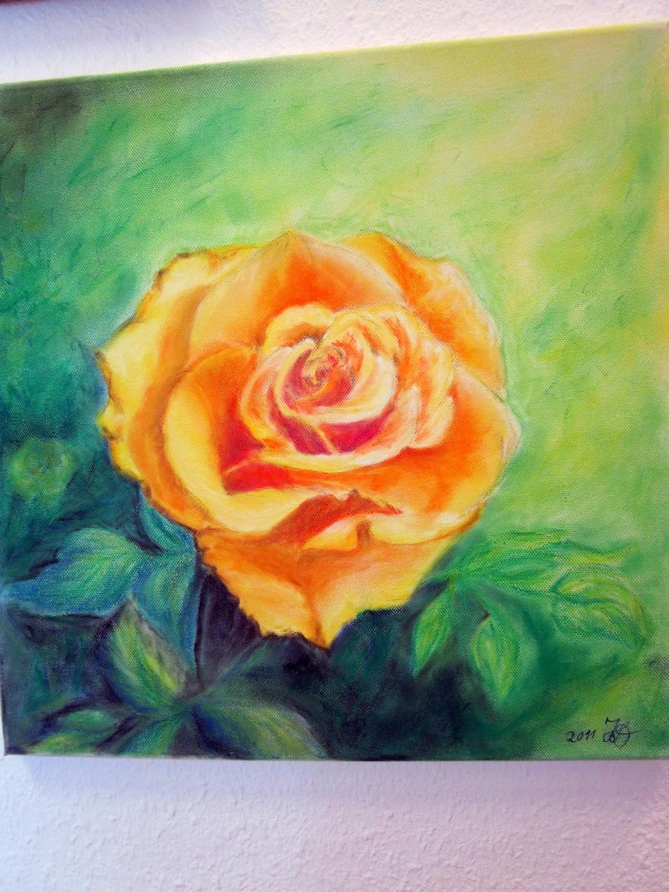 sie Rose,Pastellkreide auf Leinwand,40x40 cm, 95 €