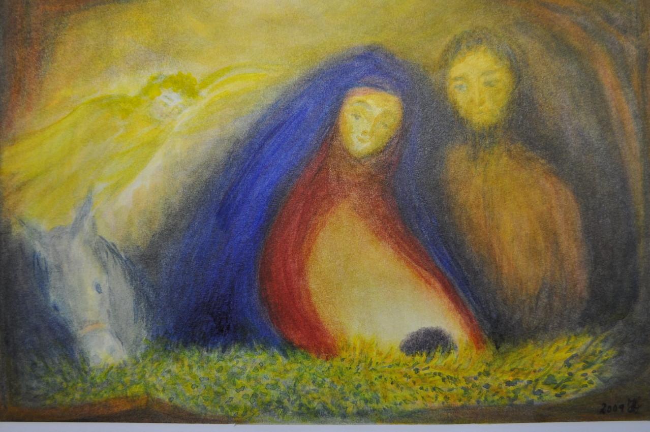 die heilige Familie, Aquarell geschichtet,30x42,85 €