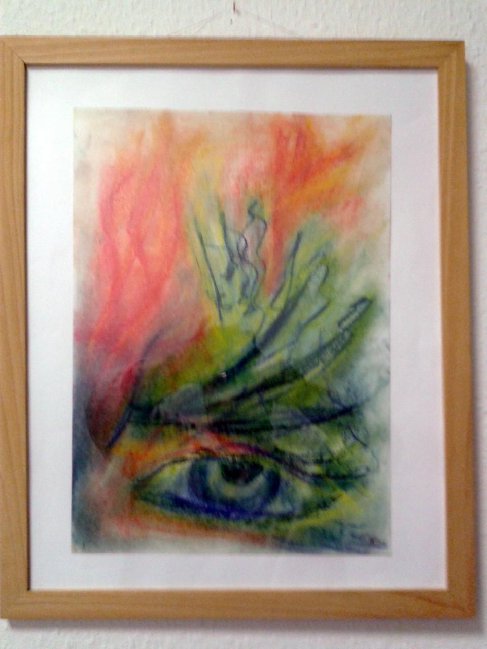 das Auge, Pastellkreide a Papier,