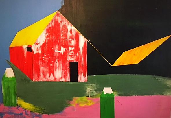 Florent Girard / Komposition mit Haus / 120 x 200 cm   3.700, EUR
