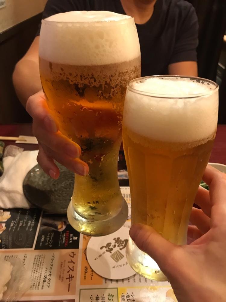 花火の後の生ビール♪
