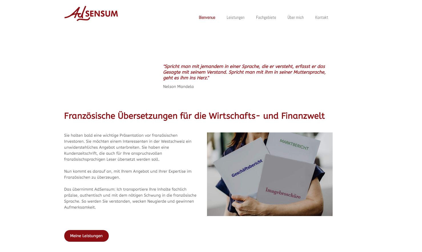 Neue Website für eine Übersetzerin. Aufgaben waren die Struktur zu ersinnen und einen logischen, attraktiven und kompetent ...