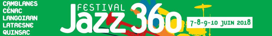 Bandeau Festival JAZZ360 2018, du jeudi 7 juin au dimanche 10 juin 2018. Graphisme : Ulysse Badorc