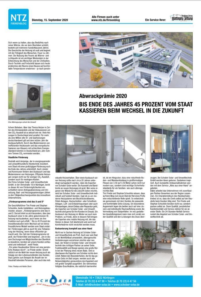 Zeitungsartikel Herbst 2020