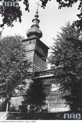 Kwiatoń - drewniana cerkiew greckokatolicka św. Paraskewy. Fragment wieży (lata 1939 - 1945)