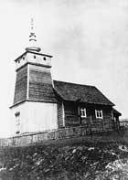 Cerkiew prawosławna w Banicy z 1931 r., rozebrana w 1947 r. Zdjęcie wykonał w 1934 r. kierownik szkoły w latach 1934-1939, Zygmunt Safian