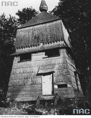 Mszana - dzwonnica przy drewnianej cerkwi (lata 1918 - 1932)