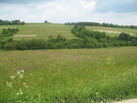 Wracania. Krajobraz rozciągajacy się wzdłuż drogi ze wsi do wsi.