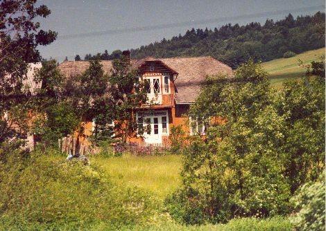 Ciekawy architektonicznie dom w Nowosielcach Kozickich. Stan na 2001 rok.