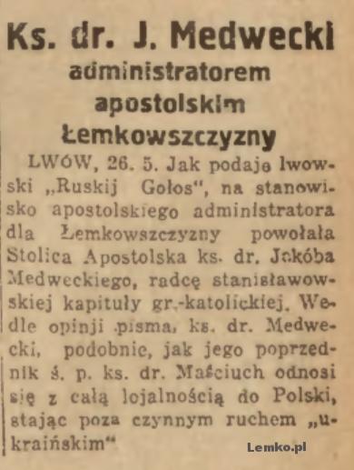 medwecki administratorem apostolskim lemkowszczyzny