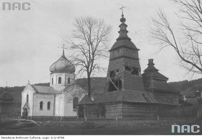 Pętna - stara cerkiew drewniana z 1700 roku i nowa murowana św. Paraskewy (lata 1918 - 1934)