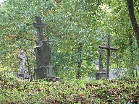 Stary, zaniedbany cmentarz greko-katolicki w Wańkowej. 2008 rok.