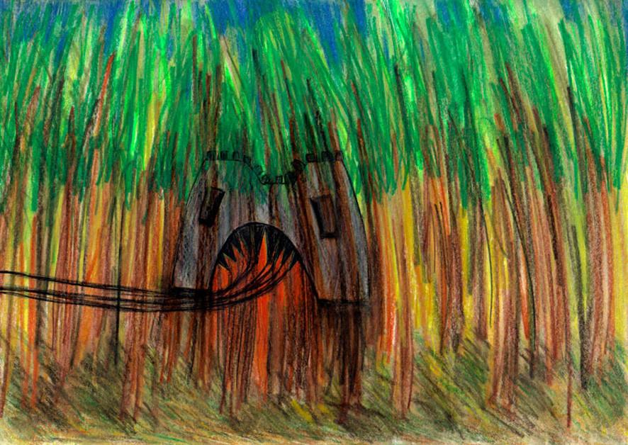 """Im Wald""  Aquarellbunstift, Gelschreiber"