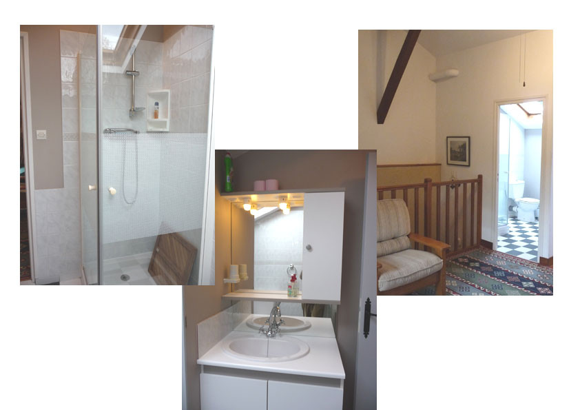 Gîte l'Estebot Ruch Gironde - Salle d'eau et WC à l'étage