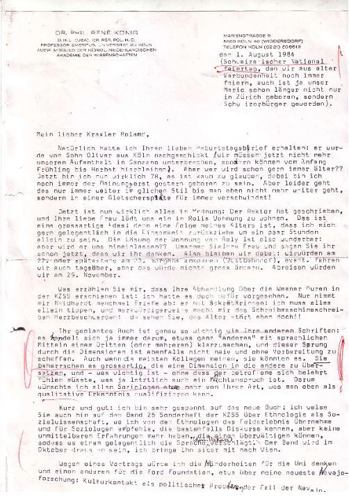 Brief von Rene König an Roland Girtler vom August 1984 - Seite 1