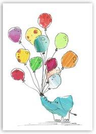 Elefant mit Luftballons