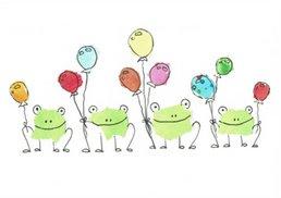 Frösche mit Luftballons