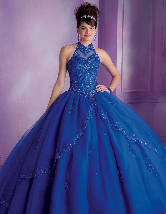 vestidos azul para quinceañera