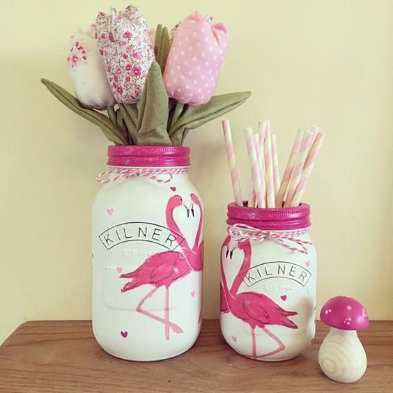mason jars con decoraciones