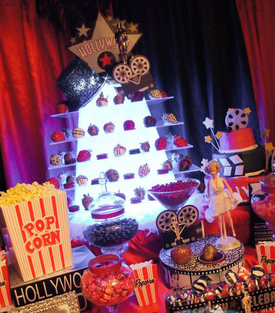 mesa de dulces fiesta hollywood