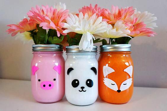 mason jars con animales