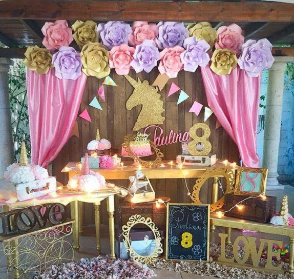 mesa de dulces fiesta unicornio