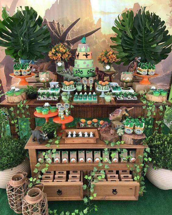 mesa de dulces fiesta dinosaurios