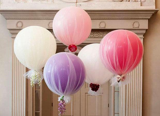 como hacer globos con tela para boda