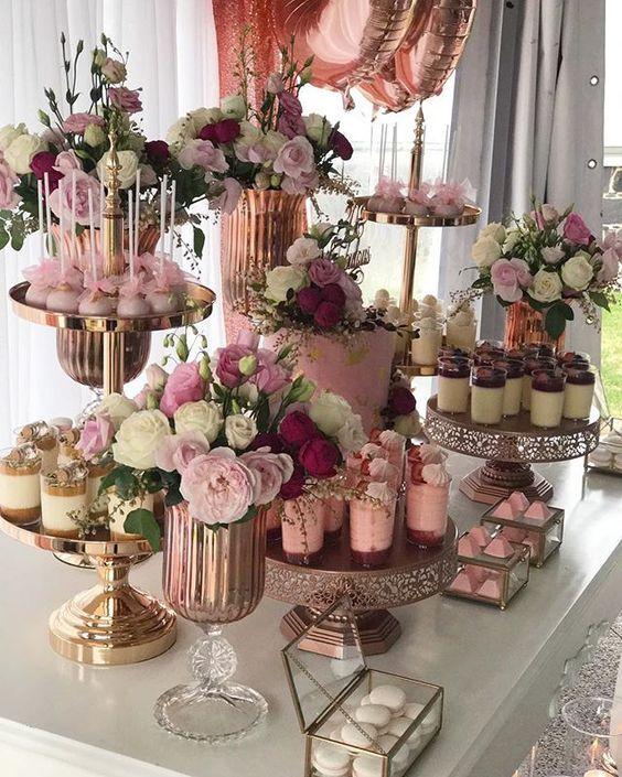 mesa de dulces y postres para tus xv años