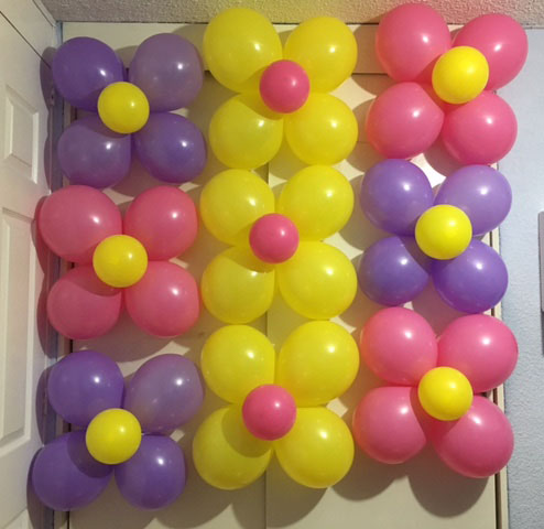 pared de globos de flor