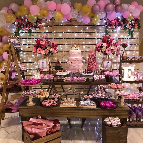 mesa de dulces para quinceañeras