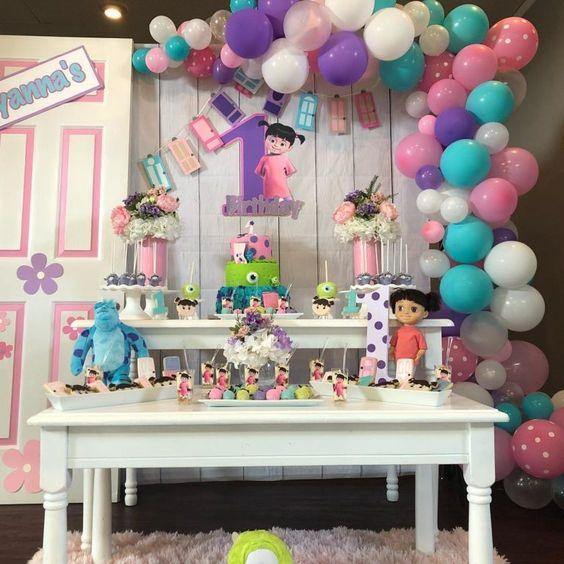 decoracion cumpleaños monster inc niña