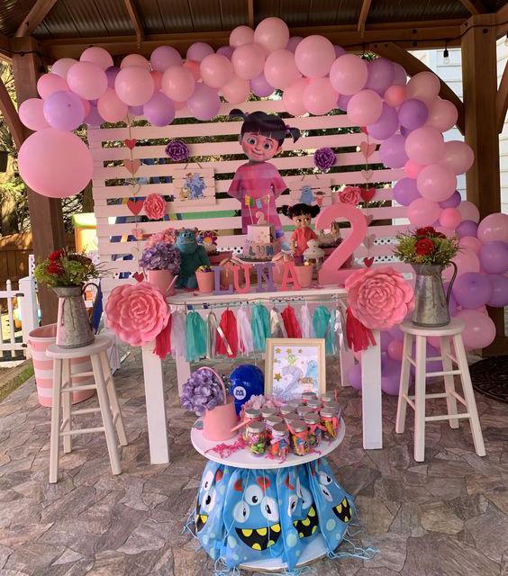 decoracion cumpleaños de monsters inc niña