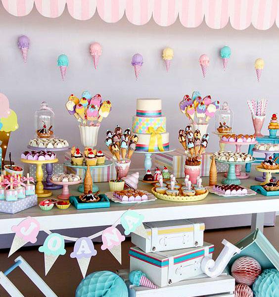 mesa de dulces fiesta helados