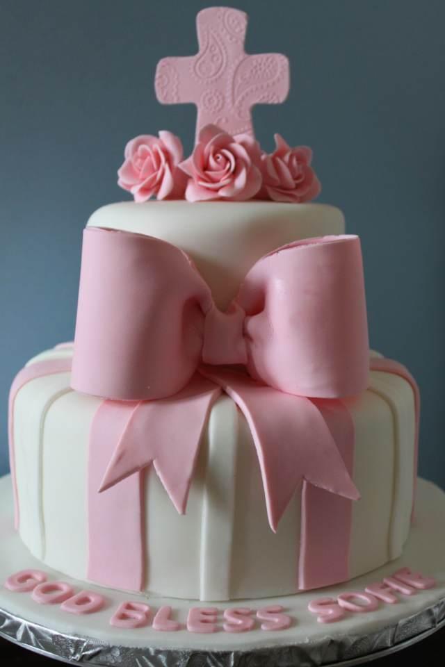 pastel de bautizo de niña